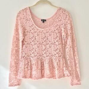 Lily Rose Pink Lace Peplum Top